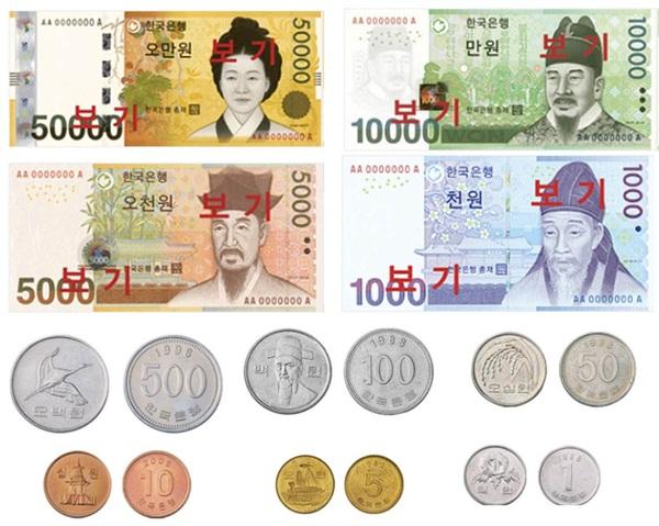 Tiền Hàn Quốc có những mệnh giá nào?