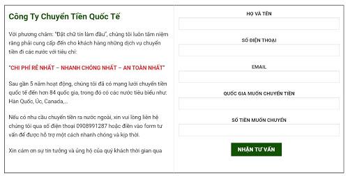 Form đăng ký tư vấn dịch vụ chuyển tiền từ Việt Nam sang Thái Lan